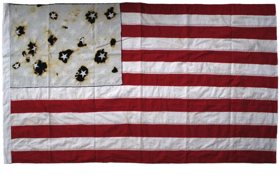 Hana Mallalah - US Modern Flag - 2012. Cloth and embroidery. 150 x 90 cm