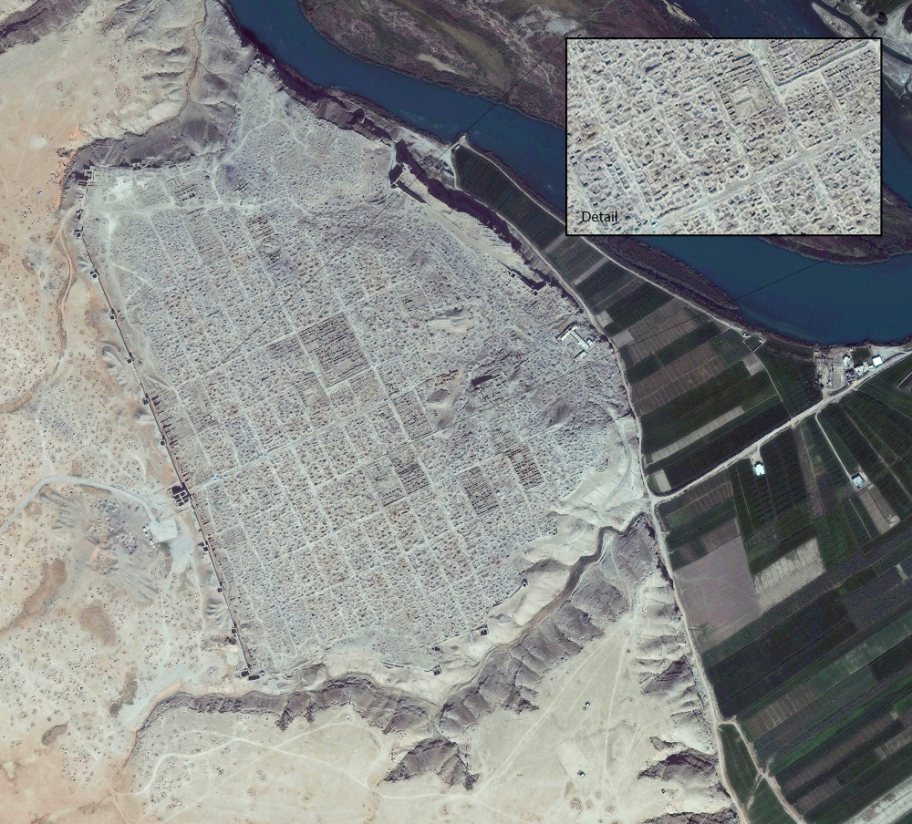 Dura Europos, currently under ISIS control. Photo 2nd April 2014. Image courtesy of DigitalGlobe/U.S. Bureau of Educational and Cultural Affairs.